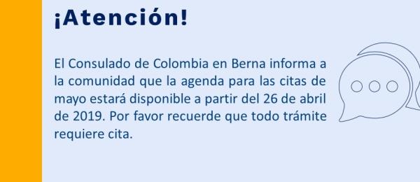 El Consulado de Colombia en Berna informa a la comunidad la agenda para las citas de mayo