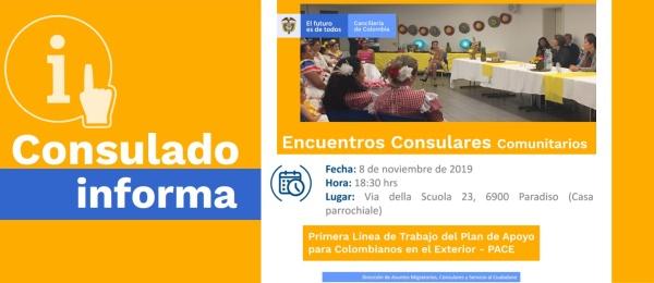 El Consulado de Colombia en Berna realizará una Encuentro Consular Comunitario el viernes 8 de noviembre de 2019
