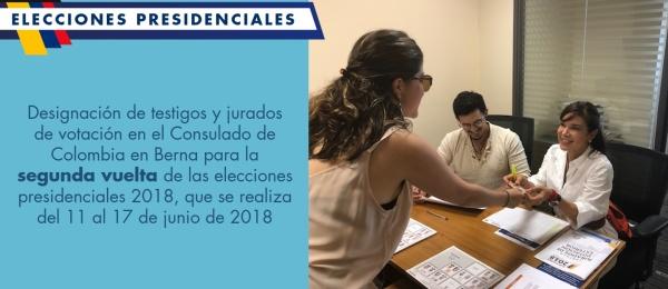 Designación de testigos y jurados de votación en el Consulado de Colombia en Berna para la segunda vuelta de las elecciones presidenciales 2018, que se realiza del 11 al 17 de junio de 2018