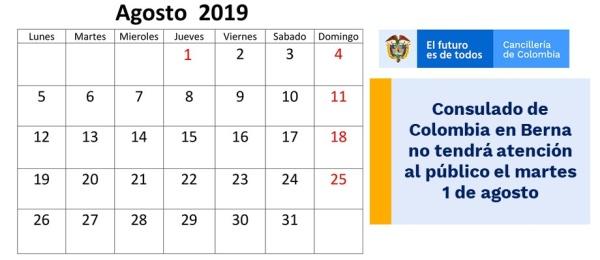 Consulado de Colombia en Berna no tendrá atención al público el martes 1 de agosto de 2019