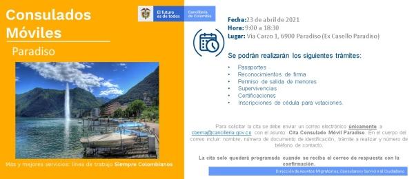 Consulado de Colombia en Berna realizará el Consulado Móvil en Paradiso el 23 de abril