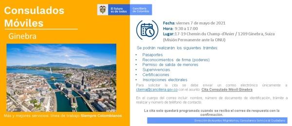 El Consulado de Colombia en Berna realizará la jornada de Consulado Móvil en Ginebra el 7 de mayo