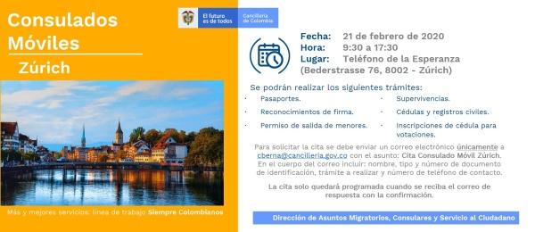 Consulado de Colombia en Berna realizará un Consulado Móvil en Zúrich, el 21 de febrero de 2020