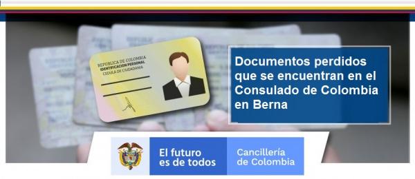 Documentos perdidos que se encuentran en el Consulado de Colombia