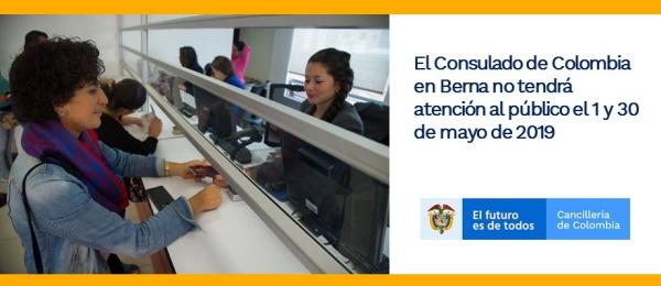 El Consulado de Colombia en Berna no tendrá atención al público el 1 y 30 de mayo
