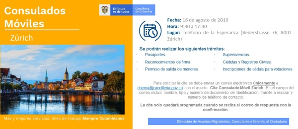 El Consulado de Colombia en Berna realizará un Consulado Móvil en Zúrich el 16 de agosto
