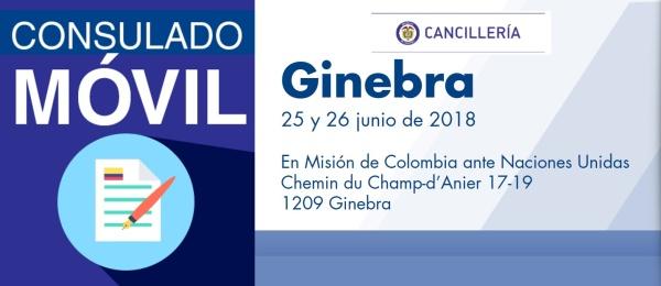 El Consulado de Colombia en Berna estará con su unidad móvil en Ginebra los días 25 y 26 de junio de 2018