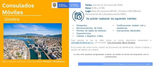 Consulado de Colombia en Berna realizará la jornada de Consulado Móvil en la Misión Permanente de Colombia en la OMC