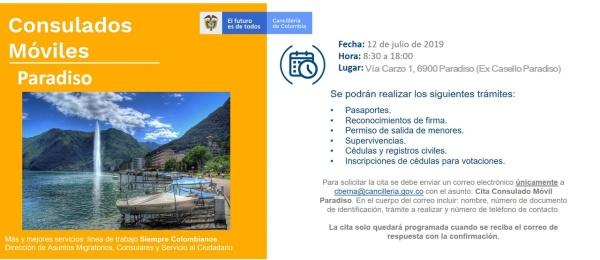 El Consulado de Colombia en Berna realizará un Consulado Móvil en Paradiso el 12 de julio de 2019