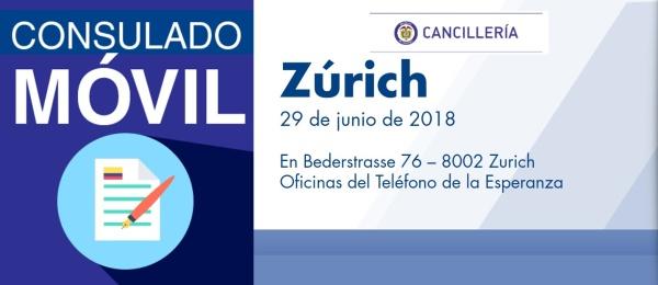 El Consulado de Colombia en Berna estará con su unidad móvil en Zúrich el 29 de junio de 2018